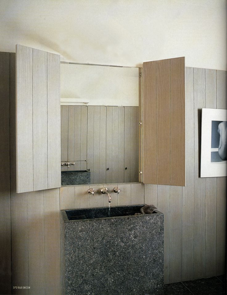 Hidden mirror. This could work in front of a desk too, if you dont want to see the mirror all the time... Inspiration Baden Baden Interior Vincent Van Duysen