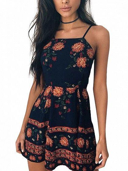 Black Floral Spaghetti Strap Mini Dress