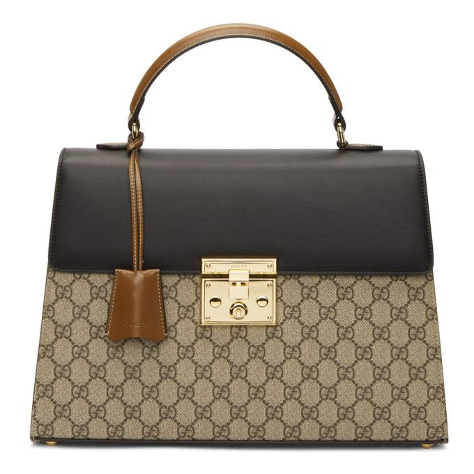 8434aff759e9 GUCCI Brown GG Supreme Padlock Bag.  gucci  bags  leather  hand bags  canvas