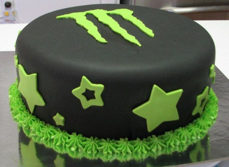 Monster Energy cake covered in fondant with fondant accents and buttercream border.