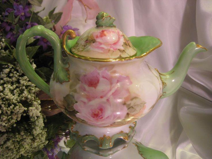 Magnificent RARE MOLD BEAUTY Limoges France Antique Victorian Tea Set ~ Creme de la Creme ~ Hand Painted ROSES w Gold Spider Web Details ~ M...