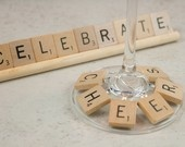 Scrabble tile wine charms for game night