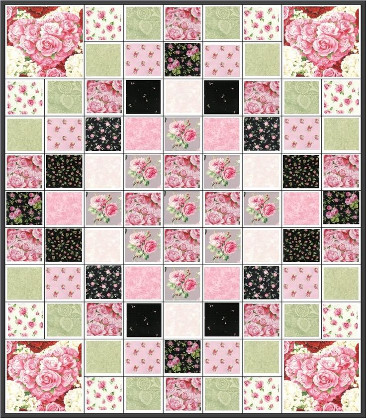 FRENCH PARIS CHIC~QUILT KIT~HEART BOUQUETS~PINK ROSES~TOUCH OF BLACK~FABRIC~Q#4