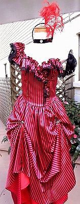 Sexy Red/Black Striped Saloon/Can-Can Girl w/Mitts, Choker, Feathered Hdpc sz 10