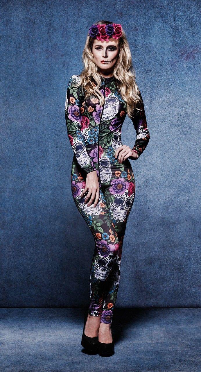 Disfraz Catrina para Mujer. Disfraces Originales para Halloween. Malla #CostumeWoman #Díadelosmuertos #Catrina #Katrin