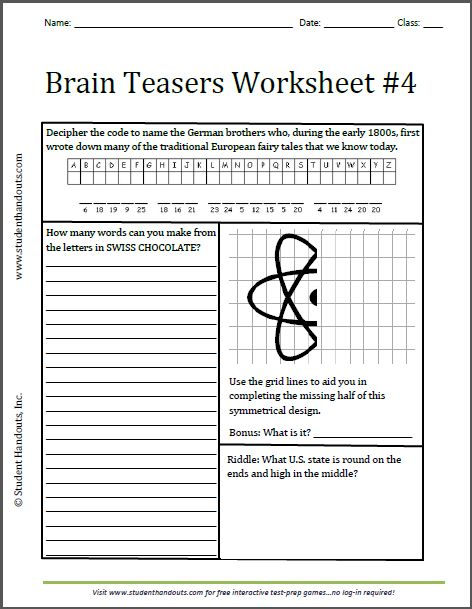 Brain Teasers Worksheet 4 Free to print. Grades 3 and
