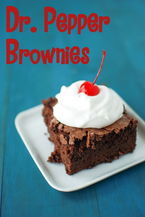 Dr. Pepper Brownies - Can use regular or low-fat mix & regular or diet Dr. Pepper: Yield: 9 brownies - 20.5 oz box Brownie mix, 1 lg egg, 8 oz Dr. Pepper, 1 tsp cherry extract. Heat oven to 350°F. Grease 8x8 baking dish. Whisk brownie mix, egg, Dr. Pepper, cherry extract. Pour into pan.  Bake 40-45 mins. Serve plain or with a spoonful of whipped cream and a cherry!