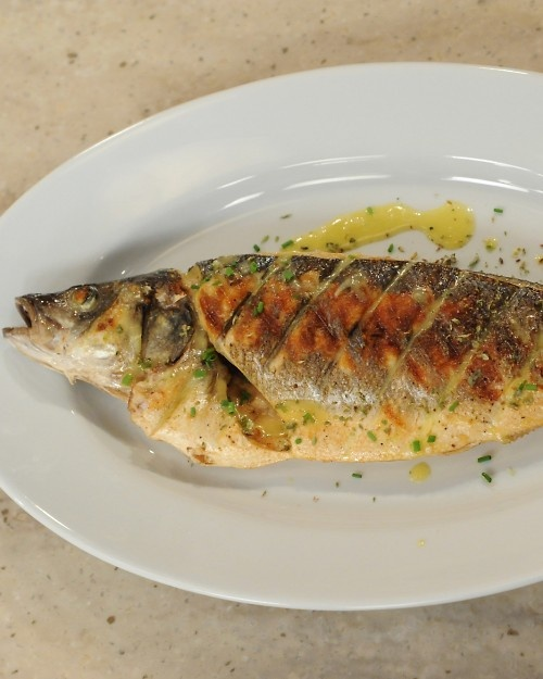 Grilled whole fish with lemon emulsion recipe sea bass for Whole fish recipes