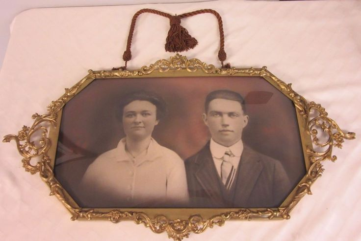 Antique Picture Frame Victorian Fancy Scroll design vintage Convex wall hanging  #unknown