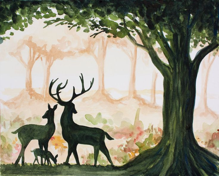 ART PRINT - 8x10 Giclee of Original Watercolor Painting by Jessi Lynn - Woodland Deer Family - Nature Animal Deer Hunting Buck Tree Trees. $19.95, via Etsy.