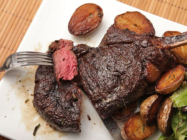 """Butter-Basted Bison Ribeye Steak with Crispy Potatoes 