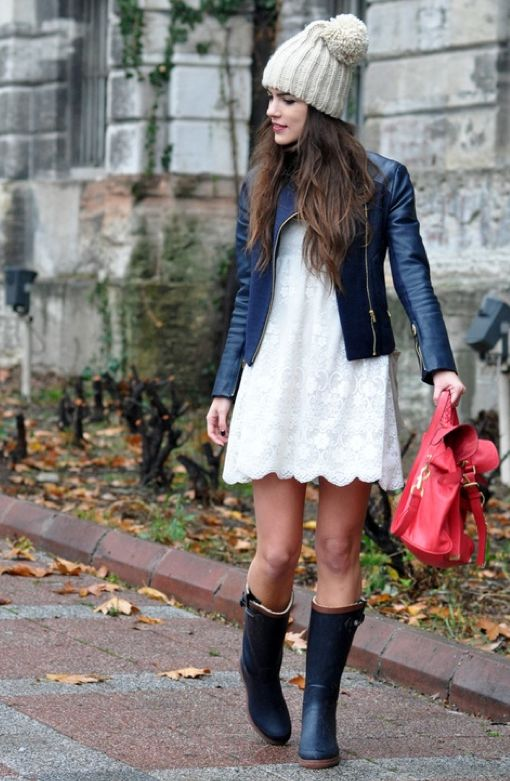 white dress / leather jacket / boots / hat   love how you can wear the white dress in the winter