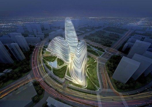 Zaha Hadid's Wangjing SOHO in Beijing, which has allegedly been copied by a developer in Chongqing. Image ©  ZHA