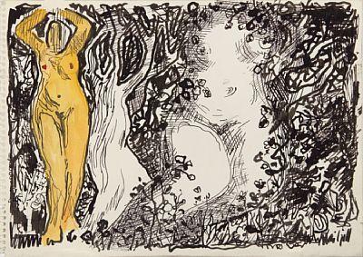 KAI FJELL SKOGER 1907 - BÆRUM 1989  Komposisjon med kvinner og trær Tusj og akvarell på papir, 21x30 cm Signert nede til høyre: Kai Fjell