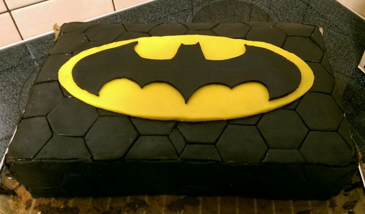 My first try with marzipan. Batman Birthday Cake.