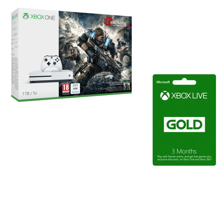 MICROSOFT  Xbox One S with Gears of War 4 & Xbox LIVE Gold Membership Bundle, Gold Price: £ 293.99 Enjoy a complete gaming experience with the Microsoft Xbox One S with Gears of War 4 & Xbox LIVE Gold Membership Bundle . ------------------------------------------------------------------------------------------------------------------------------------ Xbox One S A 40% smaller console with...