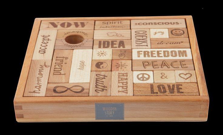 Peace & Love wooden blocks