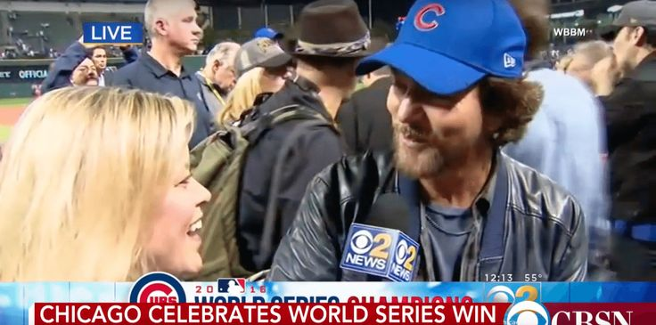 Watch Eddie Vedder's Excitement For The Cubs Winning The World Series