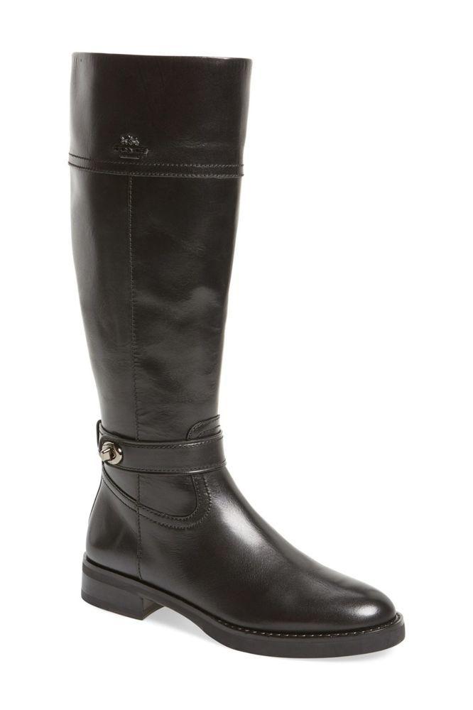 aa27a0bcf72 COACH Eva Skinny Narrow Calf Tall Black Leather Zip Riding Boots 6.5 ...