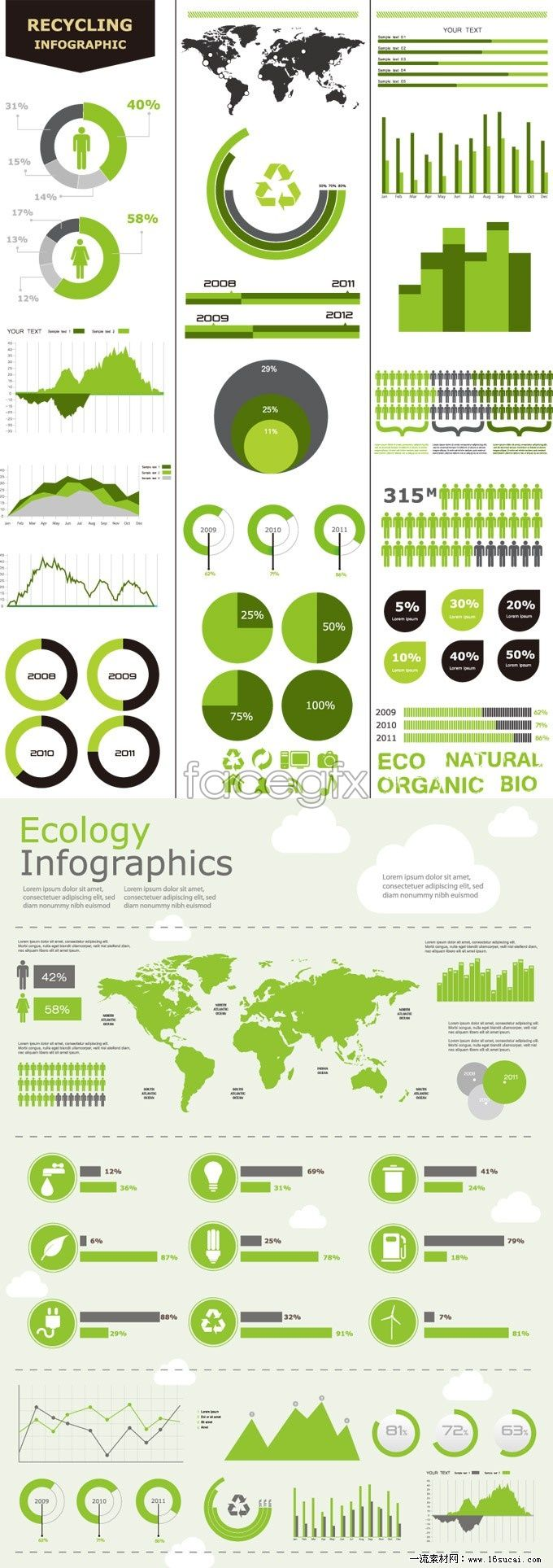 Green infographic. ecology. very clean colours that keep the theme of the info graphic to its nature of eco. nice clean images which make it stand out!
