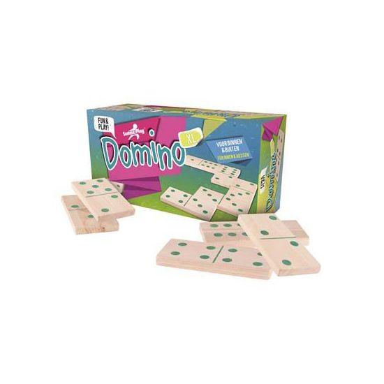 XL domino spel. Domino spel met extra grote stenen voor binnen en buiten. Ideaal voor op de camping, verjaardagen of gewoon gezellig met vrienden. Formaat: ongeveer 32 x 16 x 11 cm. Materiaal: hout/kunststof.