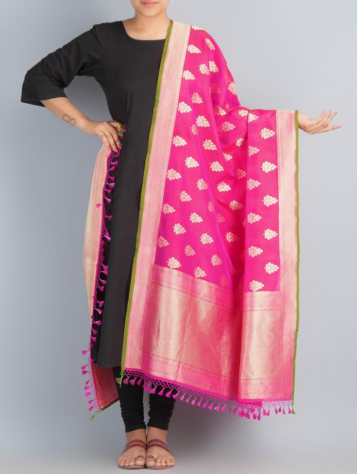 Buy Pink Golden Handwoven Silk Dupatta by Shivangi Kasliwaal Accessories Dupattas Classical Antiquity Benarasi Hand Woven Zari in Online at Jaypore.com