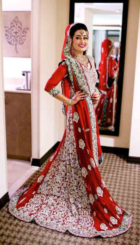 af9c18f227e Latest red and silver Pakistani bridal long tail maxi gown dress designs  2017