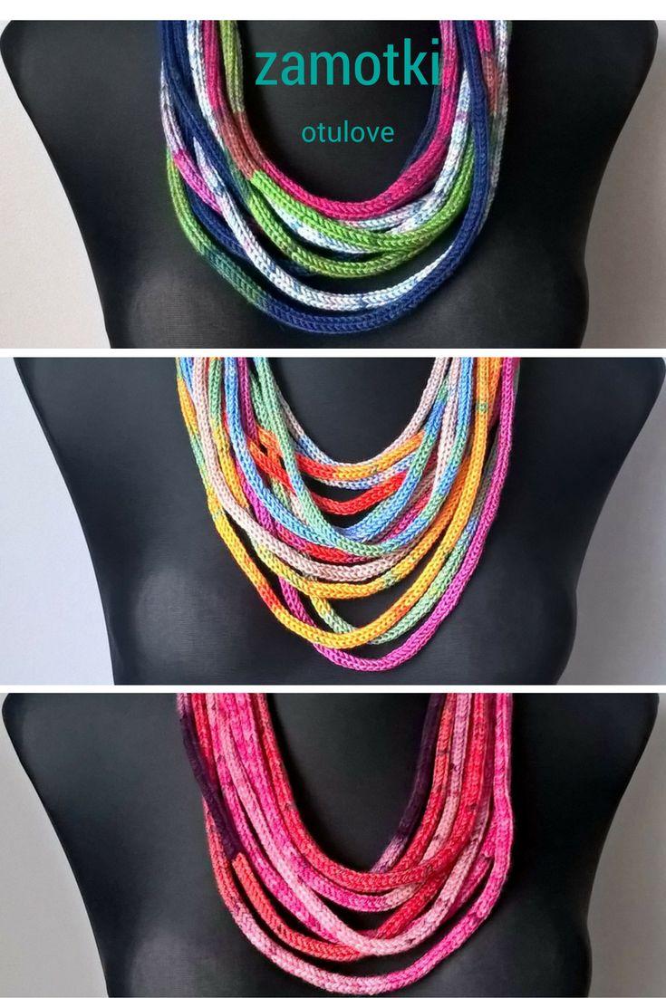 zamotki, zamotek makarony icord necklace sznurkowy naszyjnik z włóczki, yarn necklace