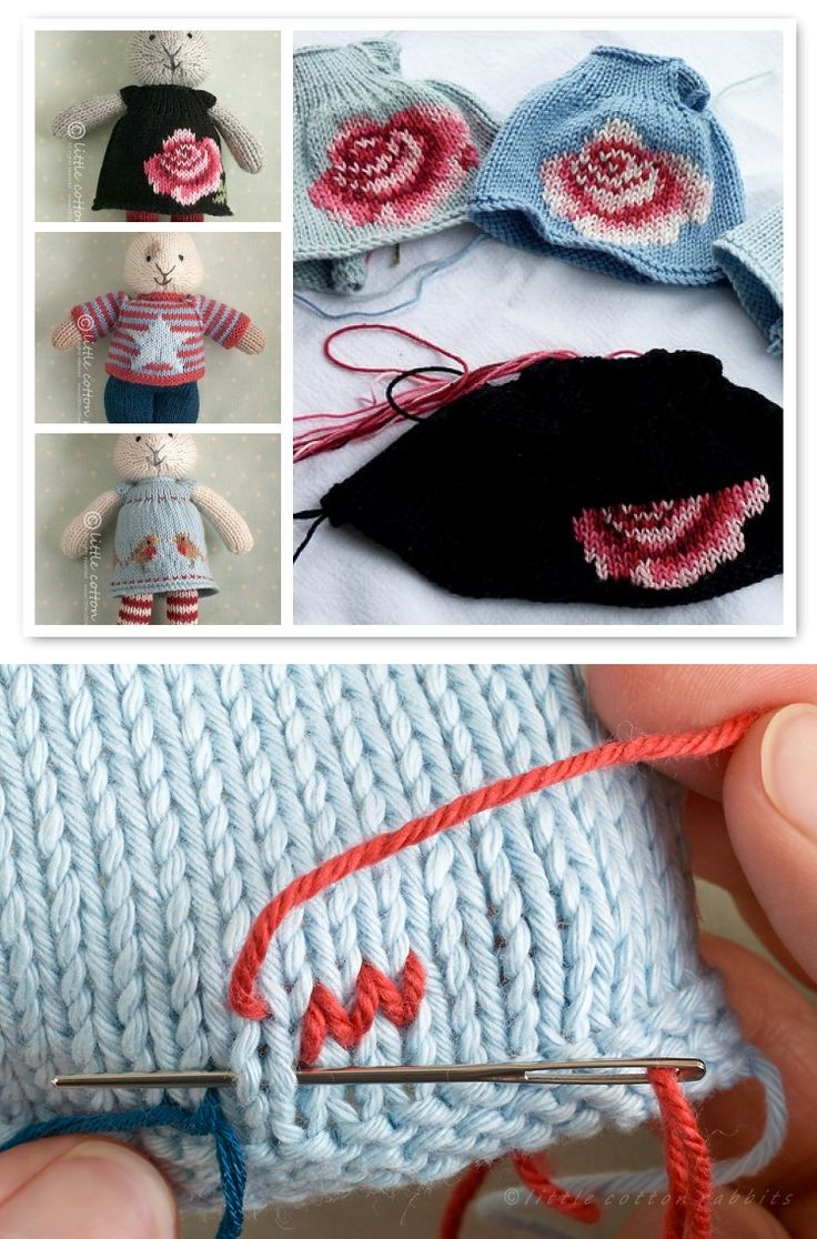 Technique :: A basic explanation of duplicate stitching, also called Swiss darning, done as surface embellishment.  A knitted foundation piece is shown here, but this could be adapted to crochet as well (particularly a slip stitch piece, which mimics knitting).    . . . .   ღTrish W ~ http://www.pinterest.com/trishw/  . . . .   #crochet