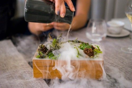 The classic use of dry ice to create an effect of morning mist on a forest floor. You've probably seen this trick before. Maaemo comes to mind, obviously.