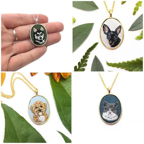 This listing is for a custom oval pet portrait in a silver or gold setting. I would love to make something special for you! All portraits are hand embroidered with care and one of a kind. Many hours go into each piece and finished pendants take up to 14 days to complete before