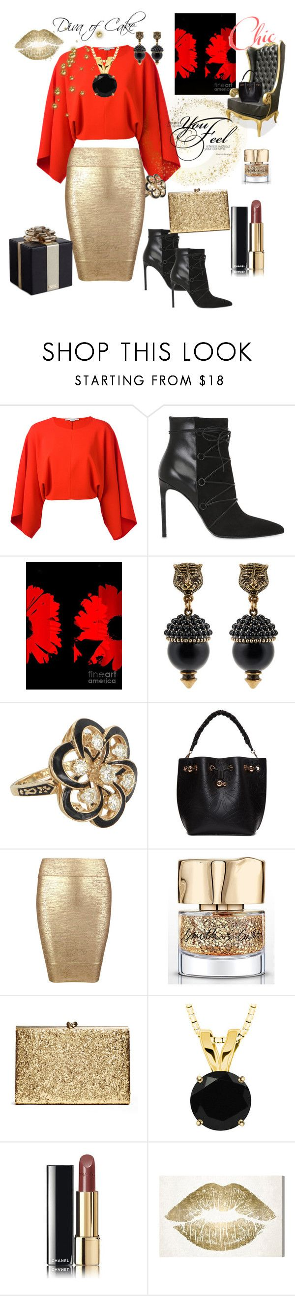 "Repin by www.sandragabriel.com  ""red black & gold"" by Diva of Cake on Polyvore featuring STELLA McCARTNEY, Yves Saint Laurent, Gucci, Vintage, Sophia Webster, Posh Girl, Smith & Cult, Chanel, Oliver Gal Artist Co. and Kate Spade"