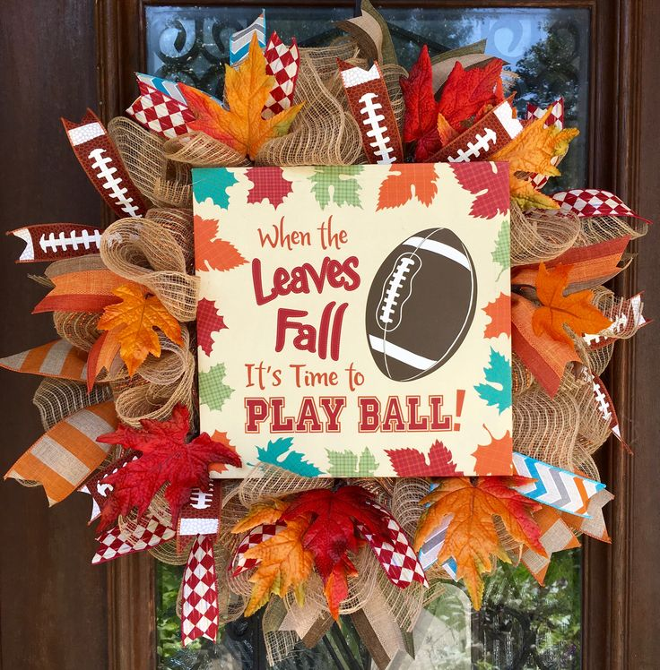 Football fall wreath with fall leaves and football ribbon