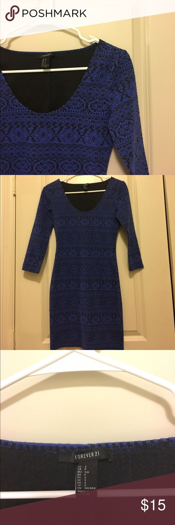 🍍Forever 21 Cobalt Blue Mini Bodycon Dress🍍 Cobalt Blue. Size Small. Bodycon style dress. Aztec Design. Very comfy. Worn twice for date night as well as a fraternity party. Starting at top of dress to the bottom is 31 3/4 inches long. Armpit to armpit is 14 1/2 inches wide. Have any questions? Ask away! 😊 Ships same day and next day! No trades 🚫 Forever 21 Dresses Mini