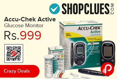 Shopclues is offering 37% off on Accu-Chek Active Glucose Monitor at Rs.999 Only. Accu-Chek Active Meter is India's largest selling blood glucose meter ideal for self-monitoring of blood glucose level by type 1 and 2 diabetic patients.  http://www.paisebachaoindia.com/accu-chek-active-glucose-monitor-at-rs-999-only-shopclues/