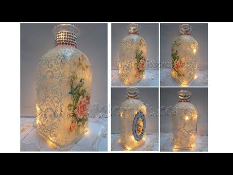 TUTORIAL-----(520) Decoupage Tutorial - Vintage Glass Bottle Art - YouTube