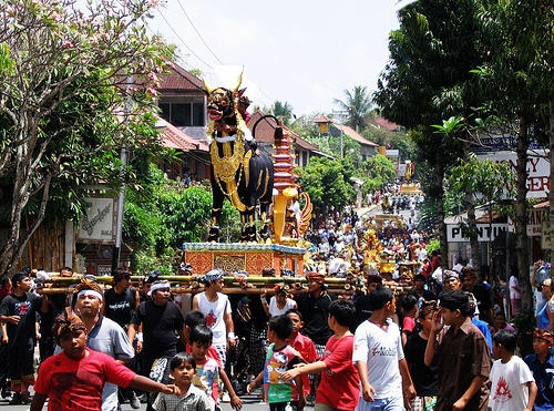 Bali funeral procession called Ngaben