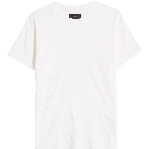 538a4f767 Amiri Distressed Cotton T-Shirt (16,935 PHP) ❤ liked on Polyvore featuring  men's fashion, men's clothing, men's shirts, men's t-shirts, white,  distressed t ...