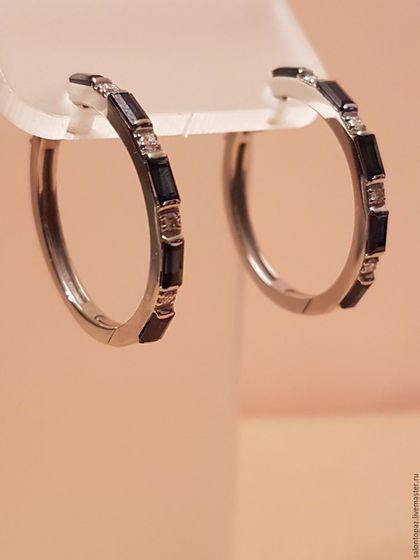 Купить или заказать Серьги с сапфирами и бриллиантами в интернет-магазине на Ярмарке Мастеров. Серьги кольца из белого золота 585 пробы с сапфирами ( 10 штук - 1.5ct 3/3) и бриллиантами ( 8 штук - Кр.57 0,11ct 4/4). Универсальное украшение с драгоценными камнями станет незаменимым дополнением образа выбранного Вами.