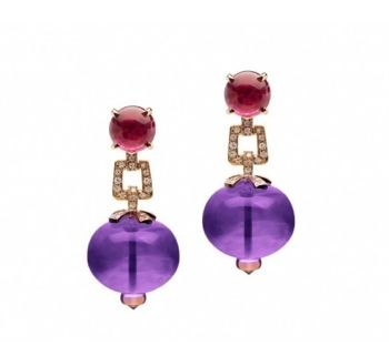 Small Rubellite Cabochon Diamond Chain Link Amethyst Bead Earring in 18kt Gold-------------For more Information Call Us At: (866) 264-9759 Or Visit: haroldfreemanjewelers.com www.youtube.com/watch?v=dXT8vy4e8c4 www.facebook.com/HaroldFreemanJewelers