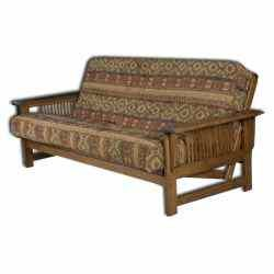 Our Amish made futons are great for a den or spare bedoom and are available with many options. Our futons allow you to select the wood type, stain color, mattress type, and covering (fabric or leather). You can even add an end table or storage drawers! Our upholstered Amish futons feature solid wood construction and are handcrafted in the USA by Amish craftsmen.