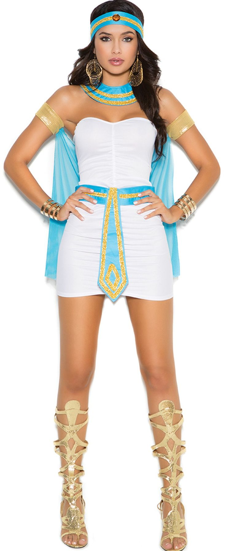 Queen of the Nile #Costume http://www.envycorner.com/queen-of-the-nile-costume-13128.html EM9138 Seductive Egyptian goddess #costume featuring a white bandeau style scrunched #minidress, gold armbands with an attached turquoise cape, matching turquoise and gold trimmed neck piece, headband and matching belt.  #halloweencostumes #halloween2015 #envycorner  #sexy #outfit #forwomen