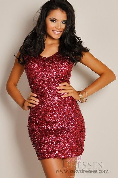 Festive Cranberry Red Metallic Sequin Wide Strap A-Line Dress..  Love this! Birthday dress :))