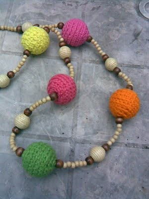 Crochet necklace pattern, in spanish bijoux - diy Pinterest