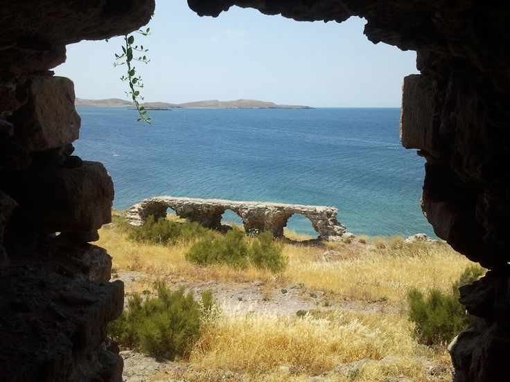 The Ottoman fort at Sigri, Lesvos. A great spot for a swim! Why not join us next year for a wonderful Lesvos holiday.