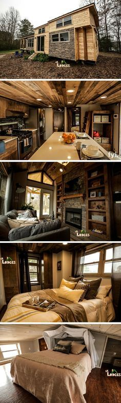 This tiny house retreat in Cobleskill, NY can comfortably fit two adults and two children. There's a full kitchen, bathroom, and 3 bedrooms. There's also a comfy living room w a fireplace/TV. Built by Lil Lodge and featured on Tiny House Nation. | Tiny Homes