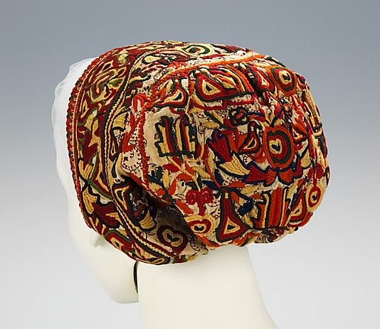 Cap.  Date: 1840–70. Culture: Slovak. Medium: cotton, wool. Dimensions: 6 x 17 1/2 in. (15.2 x 44.5 cm).