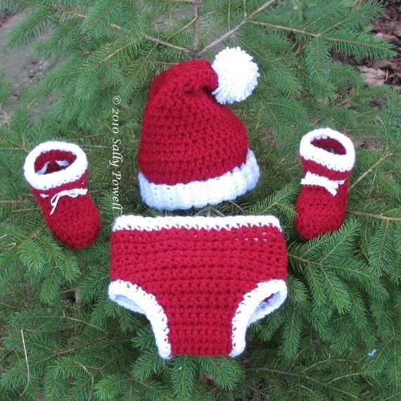 Santa Hat, Diaper Cover and Bootie Se