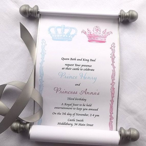 Royal twins birthday party invitation scroll, prince and princess twins invitation, siblings birthday party, royal crown, set of 10