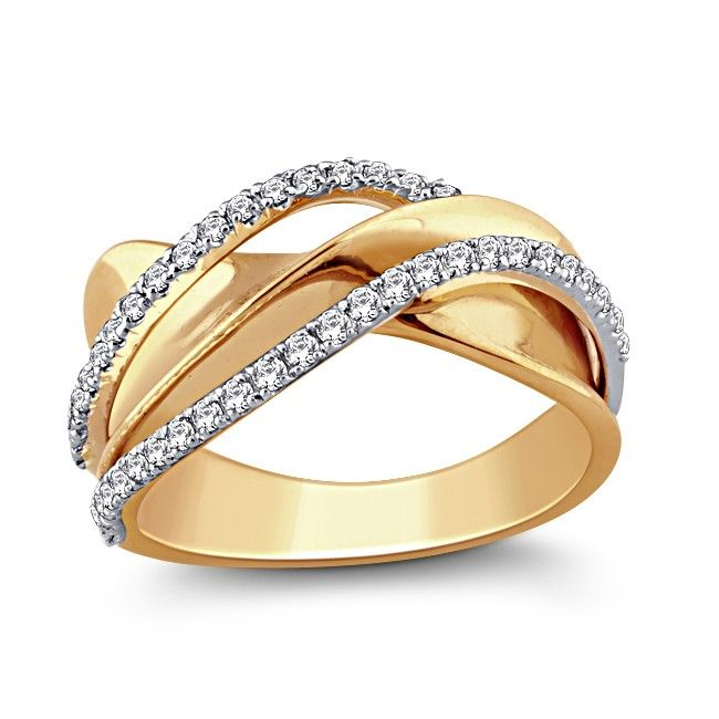 This beautiful ring features a superbly modulated twist of yellow gold wrapping itself around with two trims of pave set sparkling white diamonds. The qunitessenial right hand ring which seals your status as a fashion guru!